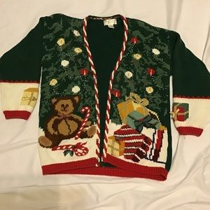 Vintage Ugly Christmas Sweater Large Tree Presents